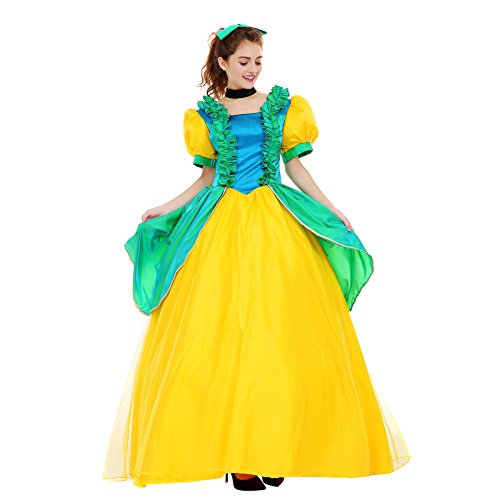 [Angelaicos Womens Vibrant Color Layered Elegant Costume Dress Petticoat (M, Green Yellow)] (Princess Anastasia Halloween Costume)