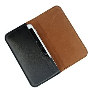 i-KitPit : Genuine Leather Flip Pouch Case Cover For Micromax Canvas EGO A113 (BLACK)