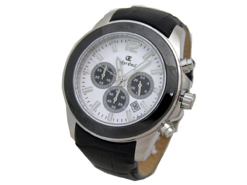 Oskar Emil Alpha White Chronograph Gents Watch with Leather Strap