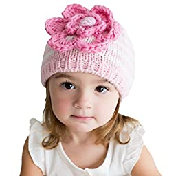 Huggalugs Baby and Toddler Girls Parfait Pink Ziggy Flower Beanie Hat Large