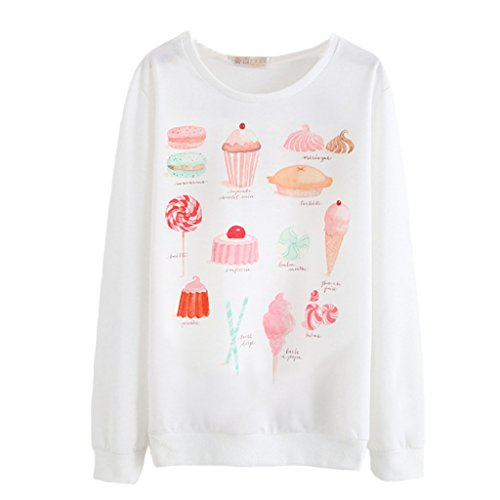 Romantic Pink Cake Sweater Tasty Foods Long Pullover for Women Girls Lady