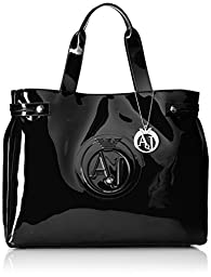 Armani Jeans Large Eco Patent Tote Shoulder Bag, Black, One Size