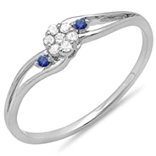 buy 14K White Gold Round White Diamond & Blue Sapphire Ladies Bridal Swirl Cluster Promise Ring (Size 6)