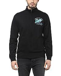 American Crew Men's Solid Full Sleeves Black & Sky Blue Zipper Jacket With Applique -XL (ACJK23A-XL)