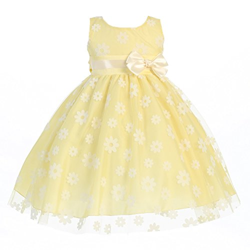 Lito Little Girls Yellow Bow Flocked Tulle Special Occasion Easter Dress 2T-6