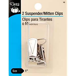 Image: Dritz Mitten/Suspender Clips 2/Pkg-Nickel - For making suspenders and mittens clip to garments - 2/pkg