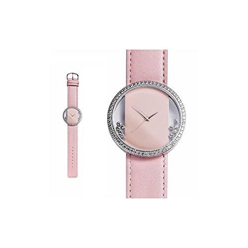 Orologio Cristallo Swarovski Elements Bianco e Pelle Bracciale Rosa - Blue Pearls - CW 0012 C ROSE