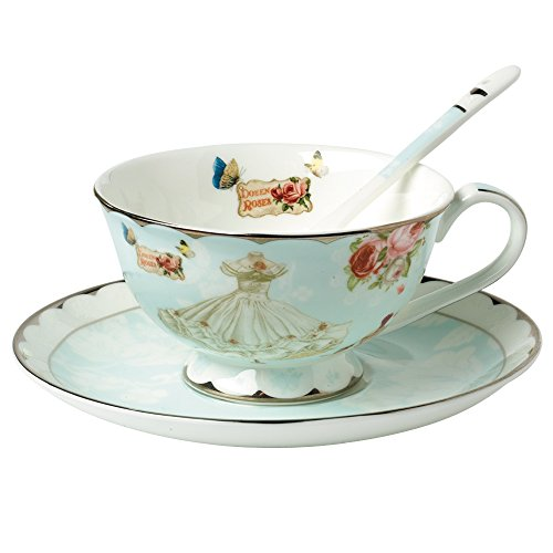 Fu goods British Blue Bone China Teacup Spoon and Saucer Boxed Set 8-Ounce(cup01)