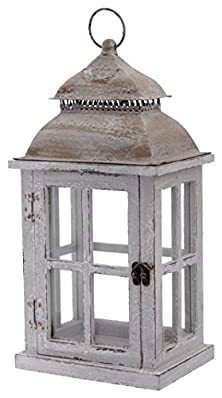 buy Boston International Rustic Wooden Lantern, 16-Inch