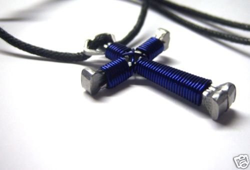 Dark Blue Horseshoe Nail Cross Necklace