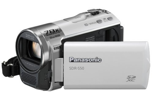 Panasonic SDR-S50 Camcorder SD Card, X78 Enhanced Optical Zoom, Wide Angle Lens, iA + Af Tracking and Optical Image Stabilisation - White
