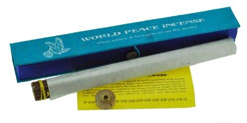 World Peace de hierbas de incienso con figura de diseño de, varillas de incienso, incluye quemador de incienso