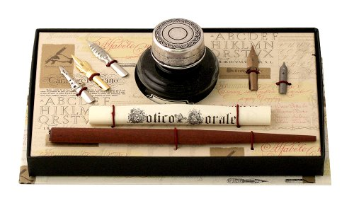 Coles Calligraphy Set includes Wooden Dip Pen/ Ink Bottle with Pewter Cap/ Nib (Set of 5)