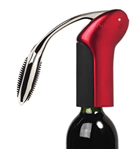 Metrokane Rabbit Vertical Lever Style Corkscrew with Foil Cutter, Metallic Red