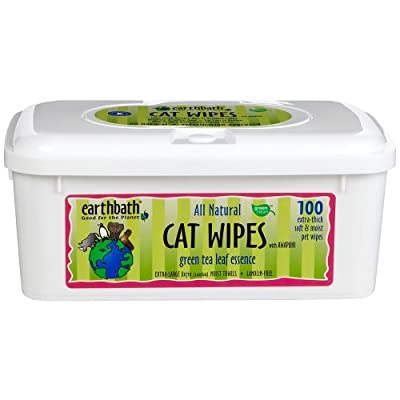 Earthbath All Natural Green Tea Cat Wipes, 100 Wipes