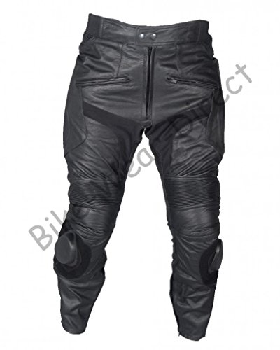 Mens Plain Black Cowhide Leather Motorcycle Biker Trousers With Sliders Waist 32 Leg 32