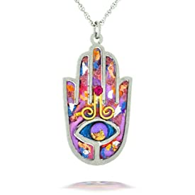 Purple Hamsa Necklace to Protect from the Evil Eye from the Artazia Collection #2412P JN MN