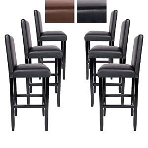 Lot de 6 tabourets de bar noir en bois et cuir synth tique diverses couleur - Chaise de bar pliante pas cher ...