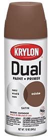 Krylon 8825 'Dual' Satin Adobe Paint and Primer - 12 oz. Aerosol