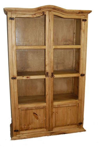 Curio Wood Bookcase With Glass Front Doors Real Wood, Western, Rustic, Traditional