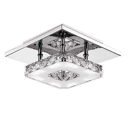 Fuloon 12W Moderno Cristallo LED Lampadario a Soffitto Ciondolo a Filo Lampadina Acciaio Inox Lampadario Decorazione - Bianco