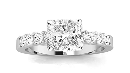 2 Carat Classic Prong Set Diamond Engagement Ring (K Color, SI2 Clarity) - Cushion Cut