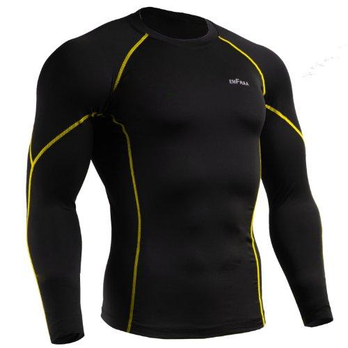 emFraa Men Women Skin Tight Baselayer T Shirt Running Top Black-Yellow Long sleeve S ~ 2XL