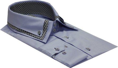 Italian Design Men's Formal Casual Triple Collar Shirt Blue Colour Slim fit