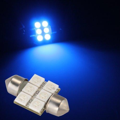 2 x 31mm 6 Blue LED 5050 SMD Bulbs Car Dome Festoon Interior Light DC 12V