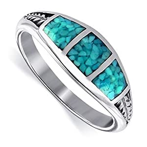 Turquoise Gemstone Inlay 7 MM Band Silver Ring Size 5