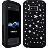 Wayzon Nokia 5530 XpressMusic Case Cover Skin Pouch Black Silica Rubber With Star Pattern On Back
