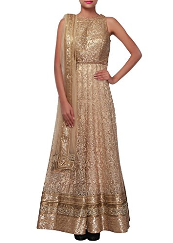 MEGHALYA-Beige-Net-Suit-For-WomenSemi-Stitched