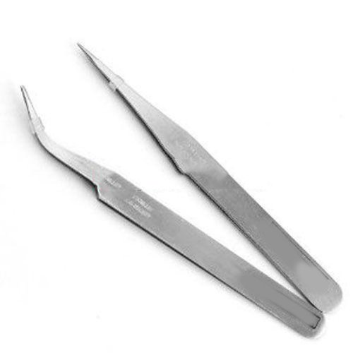 Super Fine Tweezers 1 Pair Straight & Curved
