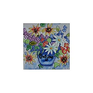 Amazon Bonjour Flowers Decorative Ceramic Wall Art