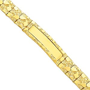 14 Karat Yellow Gold 12mm Nugget ID Bracelet - 8 Inch
