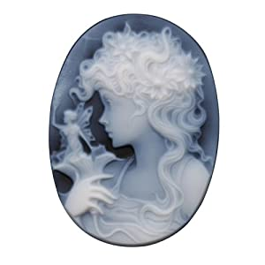 Oval 30 x 22 mm Two-Layer Black Agate Lady with Fairy Cameo Priced Individually Jewelry Making Findings