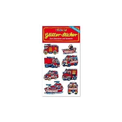 * Feuerwehr-Autos * Glitter-Sticker / Glitzer-Sticker von Lutz Mauder // Sticker Glitter Tattoo Glittersticker Kinder Kindergeburtstag Geburtstag Mitgebsel Geschenk Basteln Aufkleber Feuerwehrmann Feuerwehr Feuerwehrauto