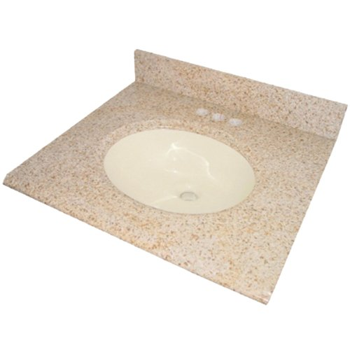Pegasus PE68225 25-Inch Granite Vanity Top with Biscuit Bowl and 8-Inch Spread, Beige