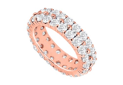 CZ Eternity Ring Stackable Band Two Rows on 14K Rose Gold Vermeil