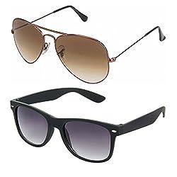 Rhodopsin UV Protected Brown Gradient Aviator and Black Wayfarer Sunglasses (Combo_Brown_Aviator_Black_Wayfarer)