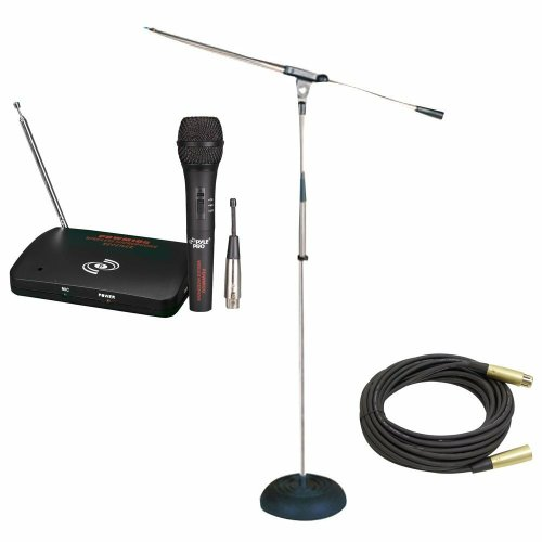 Pyle Mic And Stand Package - Pdwm100 Dual Function Wireless/Wired Microphone System - Pmks9 Heavy Duty Compact Base Boom Microphone Stand - Ppmcl50 50Ft. Symmetric Microphone Cable Xlr Female To Xlr Male