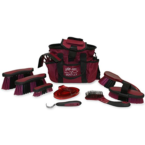 bentley-slip-not-deluxe-equestrian-microban-antibacterial-10-piece-grooming-set-burgundy