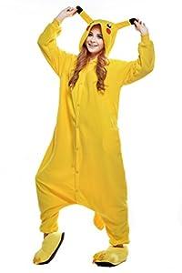 NEWCOSPLAY Pikachu Unisex Onesies Pajamas Kigurumi Cosplay Sleepsuit Costume (L, Pikachu)