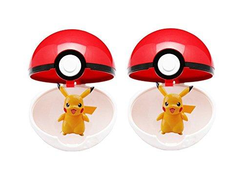 2 X Red Pokeball + 2 X pcs Free Random Pokemon Figures Anime Action Toys
