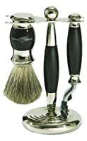 Edwin Jagger S81m356 Hand Assembled English Faux Ebony Three Piece Shaving Set, Black from Edwin Jagger