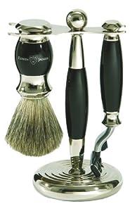 Edwin Jagger S81m356 Hand Assembled English Faux Ebony Three Piece Shaving Set, Black from Edwin Jagger