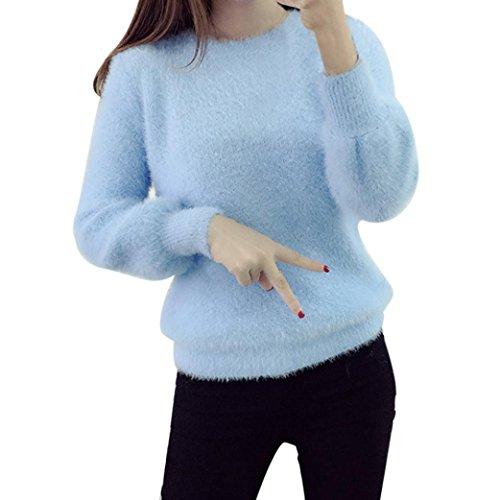 Koly_Di modo delle donne vestiti a maniche lunghe-maglia allentato Maglione (Blu)