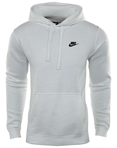 Nike Mens Sportswear Pull Over Club Hooded Sweatshirt White/Black 804346-100 Size Small