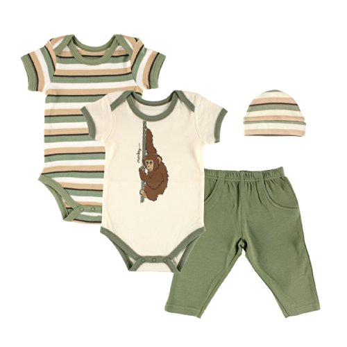 Touched by Nature Baby-Boys Organic Gift Set, Monkey, 0-6 M