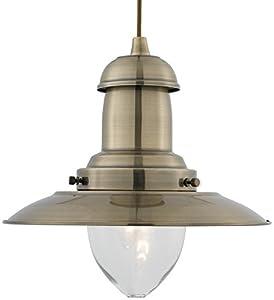 Modern Antique Brass Fisherman's Ceiling Pendant Light Fitting from Lights4Living